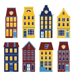 Cute houses set in vivid colors vector
