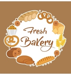 Bakery products frame flat style Set of vector image