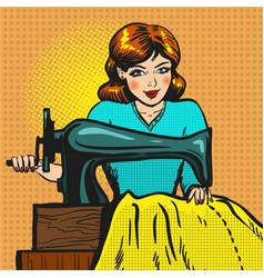 retro pop art of seamstress vector image