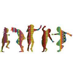 Children silhouettes in ethnic motifs pattern vector