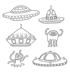 card with space objects ufo rockets aliens vector image