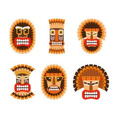 african ritual masks set vector image