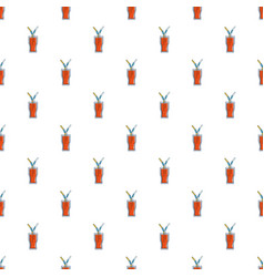 Drink in a glass cup with two straws pattern vector