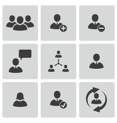 Black office people icons set vector