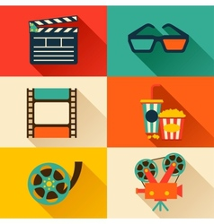 Set of movie design elements in flat style vector