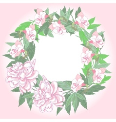 Wreath with two pink peonies and flowers vector