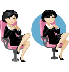 Cute young asian office woman on chair vector