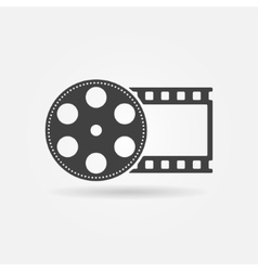 Black film roll logo or icon vector