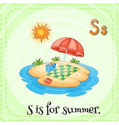 Alphabet s is for summer vector