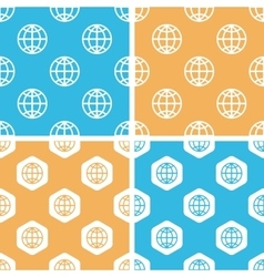 Globe pattern set colored vector image