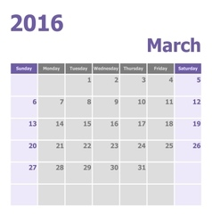 Calendar march 2016 week starts from sunday vector