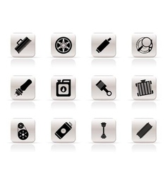 realistic car parts and services icons vector image