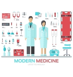 Modern medical equipment in flat design background vector