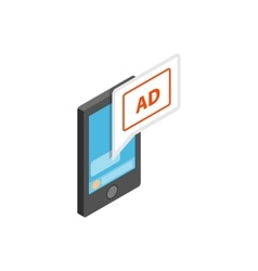 Smartphone with ad letters on the screen icon vector
