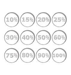 Icons with different interest discount drawn vector