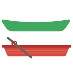Rowing boat with paddles and canoe vector