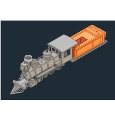 Retro locomotive isometric flat vector