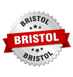 Bristol round silver badge with red ribbon vector