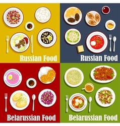 Russian and belarusian national cuisine vector