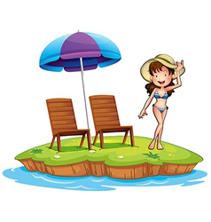 An island with a young girl swimming vector