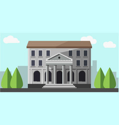 Bank grey building isolated near green trees vector