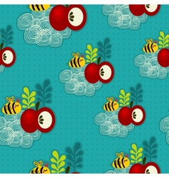 Bee and apple seamless pattern vector image vector image