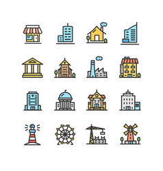 building house or home color thin line icon set vector image vector image