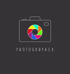 Camera logo colored aperture of the camera lens vector