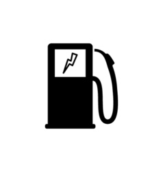 Car charging icon flat vector