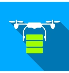 Cargo Drone Flat Long Shadow Square Icon vector image vector image