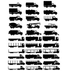 cargo trucks silhouette 04 vector image vector image