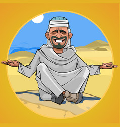 cartoon man in arab clothes sitting in the desert vector image