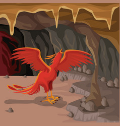 cave interior background with phoenix greek vector image vector image