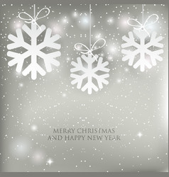 christmas background with shining white and silver vector image