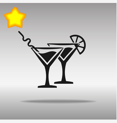 cocktail black icon button logo symbol vector image
