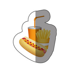 Color hot dog fries french and soda food vector