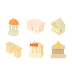 column building icon set cartoon style vector image