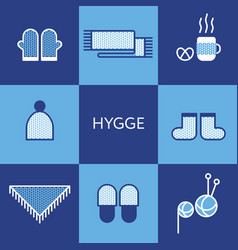 Cozy knitted clothing hygge concept vector