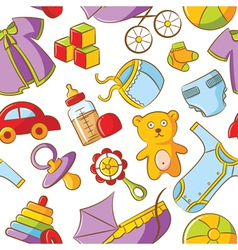 doodle baby seamless pattern vector image