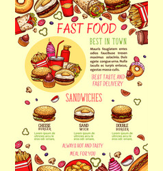 Fast food burger and sandwich menu banner template vector