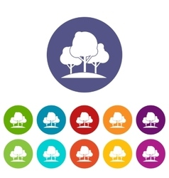 Forest trees set icons vector image vector image