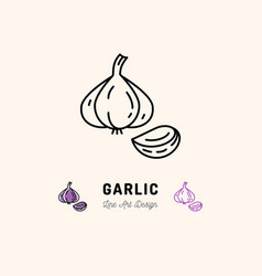 Garlic icon vegetables logo spice thin line art vector