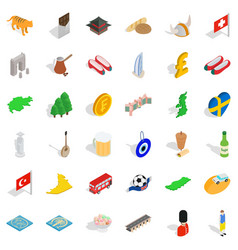 Good world icons set isometric style vector