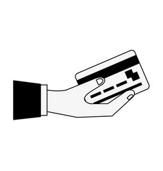 Hand holding credit or debit card icon image vector
