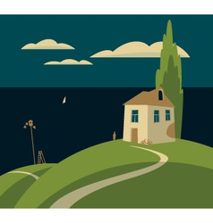house by the sea vector image