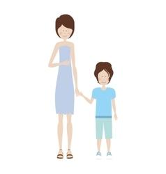 Mother holding hand a little boy vector