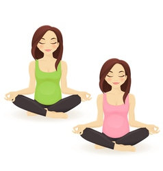 Pregnant woman practicing yoga in lotus pose vector