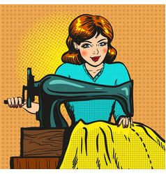 Retro pop art of seamstress vector
