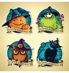 Set of halloween vintage labels with pumpkins toad vector