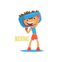 Smiling boy boxer with boxing gloves and helmet vector
